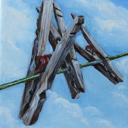 """""""Hanging Around"""" (Original) By Kristine Kainer - Though I Own Two Dryers, There Is Something Soothing About Hanging Laundry On A Line To Air Dry--Especially On A Glorious, Sunny Day.  This Painting Attempts To Capture The Charm Of The Humble Clothespin...."""