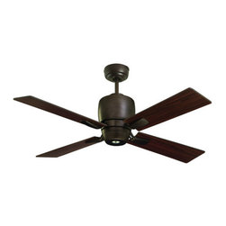 "Emerson - Emerson CF230ORB 46"" Veloce 4 Blade Indoor Ceiling Fan - Remote Control, Blades - Emerson CF230ORB 46"" Indoor Ceiling Fan from the Veloce CollectionSleek, simple, and modern, Veloce will enhance the look and style of any d�cor. This smartly styled 42"" fan includes four stylish reversible rectangular blades featuring Oil Rubbed Bronze and Dark Cherry finishes on either side. A matching integrated light kit is included with an included 50 Watt MR-16 Halogen bulb (a no-light plate is available if desired). Easily convert this fan into a semi-flush fixture by omitting the included 4.5"" downrod. Finally, this fan comes standard with a remote control and limited lifetime motor warranty, making the Veloce a simple and worry-free choice for your home.Emerson CF230ORB Features:"