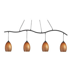Z-Lite - Z-Lite Jazz Track Light Kit - 4 Pendants - Caramel Multicolor - 131-4SB-CARMEL - Shop for Pub/Billiard and Island Lighting from Hayneedle.com! Just as alluring as a chocolate-covered caramel candy the Z-Lite Jazz Track Light Kit - 4 Pendants - Caramel will expand your world with its rich texture and smooth lines. Looking a lot like track lighting this pendant ceiling light still relies on a central ceiling opening but it spreads the light lengthwise. Four etched glass shades diffuse light all along the shaft delivering a soft glow through their caramel-colored glass. The wavy metal shaft is finished in sand black - a choice that perfectly complements the caramel shades. Whether you use it as kitchen island lighting home bar lighting or just general ceiling lighting this pendant light will satisfy your craving for modern style. About Z-LiteThis superior lighting product is designed by Z-Lite a leader in home lighting. Handcrafted and expertly designed Z-Lite lamps and lighting are unique works of art. Slight variations in color exist. Look to Z-Lite for a wide assortment of stylish ambient lighting for your home.