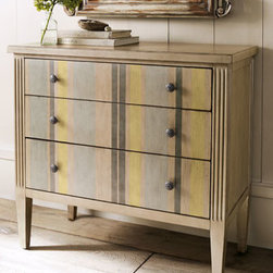 "Horchow - Striped Chest - Stripes add flair to a great storage piece. Classic three drawer chest has gray and citrine stripes on the drawer fronts. Crafted of hardwood solids, laminated lumber, and veneers. 35""W x 18""D x 35.25""T. Imported."