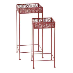 "Benzara - Buckingham Styled Metal Red Plant Stand - Do you wish to give a fascinating stand to your plants? Bring home this attractive metal plant stand and place you favorite plant onto this plant stand. Made of quality metal this plant stand will last for years. Polished in yellow color palette this plant stand supports all kinds of interiors. You can add this plant stand to your living space, bedrooms, gallery else a place of your choice. Classy styled this metal plant stand will catch hold eyes of many and make you win appreciations from them.This Metal red plant stand will make you win appreciations from many. Besides, you can also gift this exclusive Metal red plant stand to your near and dear ones. Put an end to your thoughts and get this Metal red plant stand right away. It is worth owning. Did you get one?. Metal red plant stand measures 13 inches (W) x 13 inches (D) x 28 inches (H), 11 inches (W) x 11 inches (D) x 24 inches (H); Made of quality metal; Durable construction; Dimensions: 14""L x 14""W x 29""H"