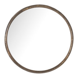 Kathy Kuo Home - Libby Hollywood Regency Thin Frame Antique Bronze Round Mirror - Small - Simply elegant and stylish, this small round mirror is endlessly versatile. Whether it's next to your favorite sconces, above an end table reflecting a floral arrangement or hanging on the wall in your bedroom, the tasteful piece is pretty and practical. At only one-inch thick, this mirror is a perfect solution for enhancing smaller spaces.