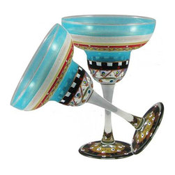 Golden Hill Studio - Mosaic Carnival Margarita Glasses Set of 2 - Your party is waiting. These dazzling, hand-painted margarita glasses are an invitation to celebrate … whatever the occasion.
