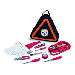 "Picnic Time - Pittsburgh Steelers Roadside Emergency Kit in Black - The Roadside Emergency Kit by Picnic Time will give you peace of mind knowing that you're prepared when an unexpected auto emergency arises. The kit features a triangular-shaped tote with carry handle that doubles as a reflective hazard warning sign and contains essential tools for roadside emergency repair, including: 1 set of jumper cables (8.2-ft long, 15-gauge copper with laminated instructions tag affixed to the cables), 1 heavy-duty plastic ice scraper, 1 tire-pressure gauge, 1 9-piece ratchet set (socket sizes ranging from 3/16"" to 1/2"") with rigid hand driver, 1 pair of standard slip-joint pliers, 1 flathead screwdriver (7-1/4""), 1 Phillips screwdriver (7-1/4""), 1 roll of red electrical tape, blade-style automotive fuses: (1) 10 amp, (2) 15 amp, and (1) 20 amp, 1 pair of white work gloves (woven heavy-duty cotton blend), and insulated ring and spade terminals (3 of each). Makes a great gift for any car owner.; Decoration: Digital Print; Includes: 1 set of jumper cables (8.2-ft long, 15-gauge copper with laminated instructions tag affixed to the cables), 1 heavy-duty plastic ice scraper, 1 tire-pressure gauge, 1 9-piece ratchet set (socket sizes ranging from 3/16"" to 1/2"") with rigid hand driver, 1 pair of standard slip-joint pliers, 1 flathead screwdriver (7-1/4""), 1 Phillips screwdriver (7-1/4""), 1 roll of red electrical tape, blade-style automotive fuses: (1) 10 amp, (2) 15 amp, and (1) 20 amp, 1 pair of white work gloves (woven heavy-duty cotton blend), and insulated ring and spade terminals (3 of each)"