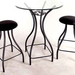 """Grace Collection - Iron Bistro Table Base+2 Stools (24 in. Seat - Choose Seat Height: 24 in. Seat HeightYou'll love the versatility of this wonderful iron bistro table and two matching chairs.  Elegantly sculpted iron legs support the table top of your choice, or add our optional 1"""" beveled glass top.  Your choice of metal finish as well as choice of chair height makes this customizable set your own.  Multiple chair fabrics are also available. * Iron Bistro Table Base+2 Stool Set w Optional Glass Top is 16"""" by 16"""". Base narrows, then opens back out to 16"""" . Shown here in 36"""" ht with 24"""" round glass top & two (2) 24"""" Iron Contempo swivel backless counter stools. Order Top separately. Order Iron bistro table or stools alone below. Choose 36"""" Tall Counter Ht. (TB236) as shown. Choose a metal frame finish . Choose Stool Seat Height (24"""" or 30""""). Select stool fabric. Add Optional 1"""" Beveled GLASS TOP. GL30RDB 30"""" Round Glass-3/8 """" thick. GL24RDB 24"""" Round Glass-3/8"""" thick (as shown). Weight: 200 lbs."""