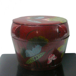 Chinese Red Color Floral Round Wood Bucket - This is an old round wood bucket with new paint. It is a charm oriental decorative piece for home. ( hand-painted item, there is variation in graphic )