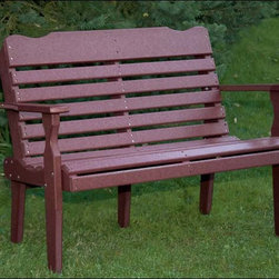 Fifthroom - Poly Lumber 4' Westchester Bench - Don�t be fooled to think that one garden bench is like any other.  This bench comes in 6 gorgeous colors, with small dips and contours to add subtle interest that makes a big statement.