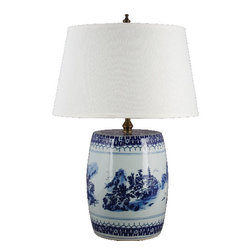 Oriental Danny - Blue and white lamp - This lamp is made of blue and white porcelain stool vase. Great for places that need a significant size lamp. Dressed in hardback lamp shade. 100 watts, 3 way switch, UL listed
