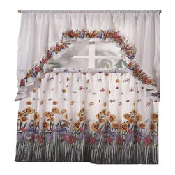 Kashi Home - Blossom Printed Kitchen Curtain Swag Set - Brighten up your kitchen with these printed kitchen curtain sets