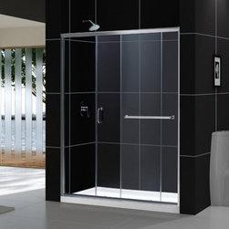 """DreamLine - DreamLine DL-6970C-01CL Infinity-Z Shower Door & Base - DreamLine Infinity-Z Frameless Sliding Shower Door and SlimLine 30"""" by 60"""" Single Threshold Shower Base Center Drain"""