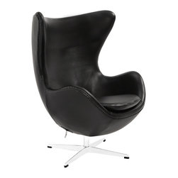 Modway - Modway EEI-528 Glove Lounge Chair in Black - Delight in perfect symmetry with the harmonious Glove Chair. Designed with sprawling wing tips and amorphous form, the Glove Chair is a study of opposites built from the most exacting design specifications. Layered in fine Italian leather over a cozy foam frame, adorn yourself with precision as you embark on a more sophisticated state.