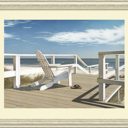 Amanti Art - Sun Deck Framed Print by Daniel Pollera - Inspired by the styles of Hopper, Homer and Wyeth, Daniel Pollera's work evokes tranquility and solitude. Living by the coastal landscapes that he paints, Pollera brings an almost photographic realism to his beach scenes.