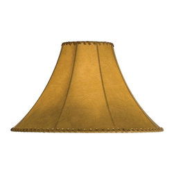 Meyda Tiffany - 18 in. Hexagon Replacement Shade - Includes spider for use on a small lamp. Trimmed with leather like lacings. White fabric lining for added light reflection. Made from faux leather. Tan color. 18 in. W x 12 in. H