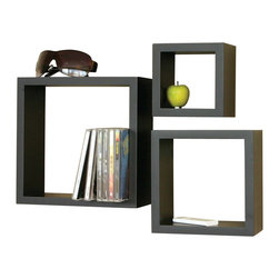 Welland - 3-Piece Cube Shelf Set - Box your goods in style with a clever trio that combines the look and feel of a shadowbox with the practicality of a shelf. Cluster multiple sets  together to create a playful CD or DVD storage system, or use a single set to build a fun spice rack above the stove — or keep keys and glasses handy by the front door.
