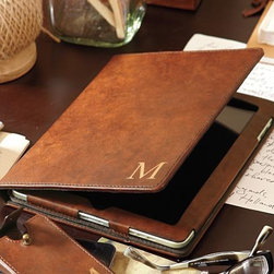 Saddle Leather Tablet Case - A masculine yet elegant monogrammed case is a great way to store and protect an iPad or tablet. Any gentleman would stand out at the conference table sporting this saddle leather beauty.