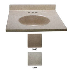 "NATIONAL BRAND ALTERNATIVE - Vanity Top Cultured Granite Sand 31"" x 22"" - Features:"