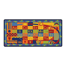 """Learning Carpets - Learning Carpets Indoor Outdoor Playmat Alpha Walkabout - LC187 36"""" x 79"""" - Count your steps on the path around this colorful alphabet featuring both upper- and lowercase letters as well as patterns, shapes and items to identify along the way. Unlimited Warranty. Soil And Stain Resistant Washable Carpet. Durable Latex Gel Skid-Proof Backing. 100% Nylon Carpet. Meets All ASTM F963 Safety Standards. Indoor/Outdoor Usage. Able To Withstand Rugged Wear. Highest Inflammability Rating In The Industry. Award-Winning."""