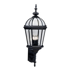 "KICHLER - KICHLER 9252BK Trenton Traditional Outdoor Wall Sconce - Utilizing classic design elements from colonial America, the Trenton Collection offers timeless design for today's aesthetic. Our striking Black finish helps recreate the look and feel of fixtures formed by blacksmiths hundreds of years ago. Skilled artisans re-create these handcrafted works of art from high quality cast aluminum with clear beveled glass panels to ensure the Trenton will last for years. If you're looking for a memorable fixture, this outdoor wall lantern is the perfect way to update your home's profile. Its three light design employs 60-watt (max.) bulbs for optimum lighting while the 33-1/2"" high lantern is U.L. listed for wet locations."