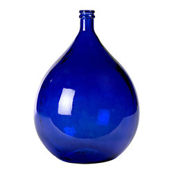 """Large Olive Bottle, Blue - Appealingly curvaceous, this large olive bottle is available in four colors to best suit your style. The glass bottle resembles an upside-down balloon with a narrow mouth and a rounded body. This large bottle measures 22"""" tall and 16"""" across to make it a noticeable, charming accent in the kitchen or living area. From blue to green, gray to clear, this delightful olive bottle is a wonderful accessory."""