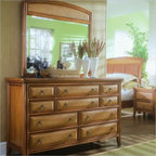 American Drew - American Drew Antigua Double Dresser and Mirror Set in Toasted Almond - American Drew - Dressers - 931021130PKG - American Drew Antigua Double Dresser and Mirror Set in Toasted Almond