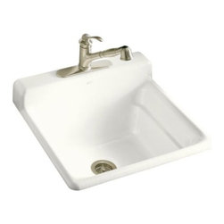 "KOHLER - KOHLER K-6608-1-0 Bayview Self-Rimming Utility/Laundry Sink with Single-Hole Fau - KOHLER K-6608-1-0 Bayview Self-Rimming Utility/Laundry Sink with Single-Hole Faucet Drilling on Top of Backsplash in WhiteThe Bayview single-basin utility sink is ideal for the hardest-working rooms of the home. This self-rimming unit features durable KOHLER(R) Cast Iron construction, a single-hole faucet drilling on the front of the integrated backsplash, and a generous 11"" basin depth.Please see our Delivery Notes for Freight Shipments for products that are oversized and/or are too heavy to ship UPS ground. KOHLER K-6608-1-0 Bayview Self-Rimming Utility/Laundry Sink with Single-Hole Faucet Drilling on Top of Backsplash in White, Features:• Single-basin utility sink with installation and faucet options"