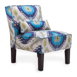 Z Gallerie - Samara Accent Chair - Our Samara Accent Chair was inspired by traditional ikat patterns, blends of colors decoratively intermingle creating a stunning display of contrast and texture. The armless slipper chair is covered in 100% cotton and cushioned with high-density foam padding. The lumbar accent pillow adds comfort and style. The scale of the chair makes it perfect for bedrooms or as pairs without forfeiting a lot of space.