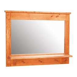 Renovators Supply - Mirrors Heirloom Pine Mirror Peg Shelf 25 1/2'' H - Mirror Peg Shelf. A peg shelf mirror is the perfect accessory for a foyer or hallway. Made of solid pine with an Heirloom Stain Finish. Overall measures 25 1/2 H x 32 1/2 W. Shelf measures 28 1/2 W x 5 1/4 deep. Mirror only 16 3/8 H x 27 W.