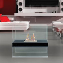 Madison Freestanding Bio Ethanol Fireplace by Anywhere Fireplace - With the appearance that the flame is floating in mid-air, Madison adds aesthetic appeal and function to any space. This two-sided fireplace offers an eco-friendly flame that is odorless. Bio Ethanol, an alternative fuel source produced from plants, only emits water vapor and carbon dioxide into the air. Although ethanol fireplaces aren't intended for use as a primary heat source, the Madison model produces approximately 8,400 btu, which will change the noticeable temperature in a room of approximately 375 square feet. For aesthetic appeal and safety, this fireplace includes two pieces of tempered glass. Appropriate for any modern or contemporary living space, Madison is offered in satin black.