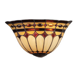 ELK Lighting - ELK Lighting 08032 Diamond Ring Two-Light Wall Washer Sconce - This Forever Lasting Collection Fits Perfectly In Just About Every D�cor.The Diamond Ring Pattern Features Oven-Bent Panels In Hues Of Honey And Amber Which Are Enhanced By An Exquisite Blend Of Neutral Toned Stones And Finished In A Stately Burnished Copper.Specifications: