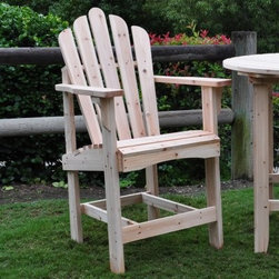Shine Company Westport Counter High Adirondack Chair - Complement your outdoor seating with the Shine Company Westport Counter High Adirondack Chair. With wide arms curved seat and high back this chair provides you maximum seating comfort. This well-crafted chair is perfect for pairing with the Round Counter High Table. Its made of high quality yellow cedar wood which is naturally repellant to moisture decay and insect damage. Moreover the attractive grain and knotty grade of the wood adds to the chairs appeal. For durability it has rust-resistant hardware. Available in different finishes.