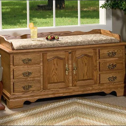 Fifthroom - Springmill Oak Chest - This Springmill Chest is the perfect blend of homespun charm and elegant sophistication.  Hand-crafted from genuine Oak, it's stained in your choice of stunning shades of stain, and lacquered twice, for a dazzling finish.  This chest also features seat rails, and decorative doors and drawers, brilliantly accented with beautiful brass handles.  One of our comfortable, colorful cushions will add the finishing touch.