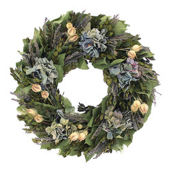 Floral Treasure - Timeless Lavender Wreath - Crafted from preserved flowers and leaves, this garden-inspired wreath helps maintain freshness no matter the season outside.   16'' diameter Natural leaves / green myrtle / lavender / nigella / blue hydrangea Imported