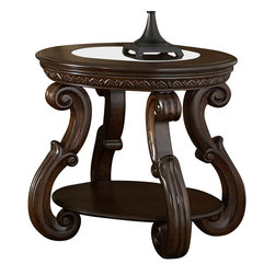 Homelegance - Homelegance Cavendish Round End Table with Glass Insert - Generous curves and a Warm cherry finish enhance the traditional look of the Cavendish collection . Carved egg and dart molding accent the apron and glass insert provides a view onto the display shelves.