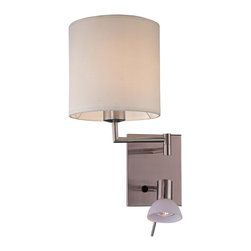 "George Kovacs - George Kovacs Up-Down Collection Swing Arm Wall Lamp - Breathe new light into a tired room with the Up-Down wall lamp from George Kovacs by Minka. This plug-in wall lamp features two lamps on one backplate. The lamp facing upwards has a cream colored fabric shade while the light facing downwards has a frosted glass shade. The dual light system will add more light to your room. Takes one 60 watt bulb and one 50 watt GU10 halogen bulb (not included). Backplate is 5 1/2"" wide 6 3/4"" high. 10 1/2"" high. 9 3/4"" wide. Cord cover included.  Brushed nickel finish.  Fabric and frosted glass shade.  A George Kovacs lighting design.  Takes one 60 watt bulb and one 50 watt GU10 halogen bulb (not included).   Backplate is 5 1/2"" wide 6 3/4"" high.   10 1/2"" high.   9 3/4"" wide.   Cord cover included."