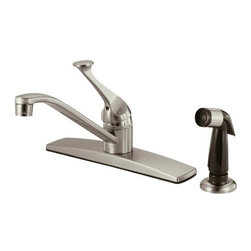 Hardware House - Plumbing - 12-3099 Satin Nickel Kitchen Faucet - Single Handle Kitchen Faucet with Spray