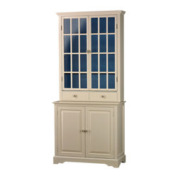 Sterling Industries - Antique Cream Kitchen Unit with Navy - Antique cream kitchen unit with navy inside. 2 glass fronted doors cover 2 shelves, below which sit 2 drawers also navy inside and the bottom cabinet has 2 doors with 1 shelf inside and is also navy. Made from Plantation grown hardwoods and other wood materials.