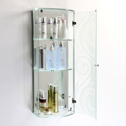 None - Tempered Glass Swirl Design Wall Cabinet - This beautiful glass wall cabinet is made of tempered curved bay windows with a tempered mirror back.  The curved bay window with a swirl design provides privacy and unique style,making the cabinet ideal for storing bathroom necessities.