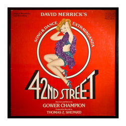 """Glittered 42nd Street Musical Album - Glittered record album. Album is framed in a black 12x12"""" square frame with front and back cover and clips holding the record in place on the back. Album covers are original vintage covers."""