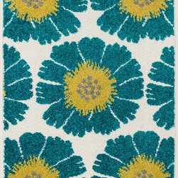 """Loloi Rugs - Loloi Rugs Terrace Collection - Ivory / Multi, 1'-8"""" x 5' - Bold design and bright colors come together beautifully in the outdoor-friendly Terrace Collection. Each Terrace rug is power loomed in Egypt of 100% polypropylene that's specially treated to withstand rain and UV damage without staining or fading color.�"""