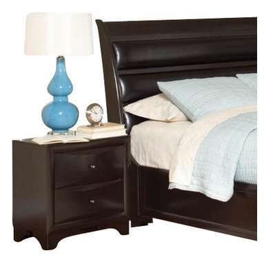 """Coaster - Night Stand (Brown Maple) By Coaster - For functional storage and display space as well as a chic and timeless look, this maple nightstand is an exceptional choice. Sleek ovulo mouldings, convex case fronts, and bracket feet adorn this piece, while a rich Brown Maple finish gives it a sophisticated look. The top of the nightstand is the ideal place for your bedside lamp, alarm clock, or cell phone, while the two drawer offer additional storage for bedroom necessities. Features: Brown Maple finish on Maple veneers Made from Wood Veneers & Solids Bright metal knob hardware Transitional style Convex drawer fronts, beveled edges, and bracket feet 2 drawers Specifications: Overall product dimensions: 23.5""""W x 23.75""""H x 14.75""""D"""