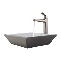 Kraus - Kraus White Square Ceramic Sink and Virtus Faucet Brushed Nickel - *Add a touch of elegance to your bathroom with a ceramic sink combo from Kraus