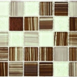 Peel-and-Stick Tiles Backsplash Kit, Bamboo - This is a very cool glass mosaic tile that sort of resembles bamboo.