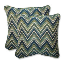 Pillow Perfect - Fischer Blue and Green Square 18.5-Inch Throw Pillow with Sunbrella Lagoon Fabri - - This set of square throw pillows is covered in 100-percent solution dyed acrylic Sunbrella fabric, which provides the perfect balance of worry-free performance and fashion. These Sunbrella pillows will retain their color and strength, even through intense exposure to sun and rain. Resists mildew, rot, chlorine and fading, so you can enjoy these pillows for many seasons to come. These pillows are as soft and luxurious as they are durable. Filled with a plush 100-percent polyester fiber filling, these pillows bring the comfort of indoors, out.  - Pillow Care and Cleaning: Sunbrella fabric should be cleaned regularly. Brush off any loose dirt and wash with a mild soap and lukewarm water solution (less than 100�F/38�C). For stubborn stains and mildew, wash with a solution of 1 cup (236ml) of bleach and 0.25 cup (59ml) of mild soap per gallon (3.8L) of water. Rinse thoroughly to remove soap. Allow fabric to air dry  - Pillows with outdoor 100-percent acrylic Sunbrella fabric - colors stay strong and vibrant  - Worry Free - resists mildew, stains, chlorine and fading; Suitable for indoor or outdoor use  - Set includes two pillows filled with a plush 100-percent polyester fiber  - Easy to clean - use mild soap with lukewarm water, rinse, and air dry. Bleach cleanable for mildew or tougher stains  - 5-Year Fabric Limited Warranty - withstands years of normal exposure to sun and rain  - Made in USA  - Secondary Colors: Lagoon Pillow Perfect - 547091