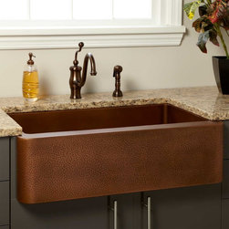 """33"""" Vernon Hammered Copper Farmhouse Sink - Sporting a hammered texture on the apron and a smooth interior, the Vernon Hammered Copper Farmhouse Sink is a lively and welcome kitchen update."""