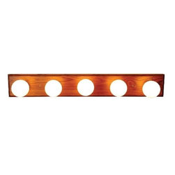 AF LIGHTING - Oak with Polished Brass Trim Vanity Fixture - Brighten your bathroom with the vintage style of a five-light vanity fixture. This fixture features an oak finish with polished brass trim.