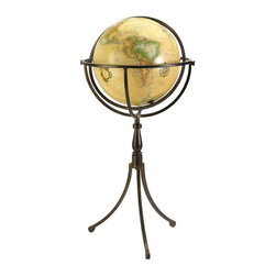 Vintage Inspired Globe on Iron Stand - You can travel the world like an explorer with this free-standing globe. Perched on an iron stand, this set features a globe with a vintage inspired ocean map and a full swing meridian. Place this in your home, office, or library for a classic look.