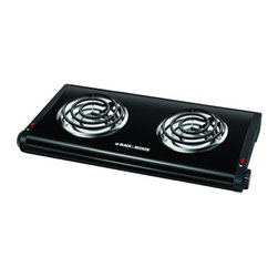 Applica Consumer Prod - Double Burner Stove - Adjustable temperature controls with power indicator lights. Rubberized non-slip feet. 1st burner 500 watts, 2nd burner 1,000 watts. 110 volts. UL Listed.            Color=Black  This item cannot be shipped to APO/FPO addresses.  Please accept our apologies