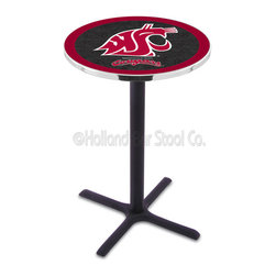 Holland Bar Stool - Holland Bar Stool L211 - Black Wrinkle Washington State Pub Table - L211 - Black Wrinkle Washington State Pub Table belongs to College Collection by Holland Bar Stool Made for the ultimate sports fan, impress your buddies with this knockout from Holland Bar Stool. This L211 Washington State table with cross base provides a commercial quality piece to for your Man Cave. You can't find a higher quality logo table on the market. The plating grade steel used to build the frame ensures it will withstand the abuse of the rowdiest of friends for years to come. The structure is powder-coated black wrinkle to ensure a rich, sleek, long lasting finish. If you're finishing your bar or game room, do it right with a table from Holland Bar Stool. Pub Table (1)