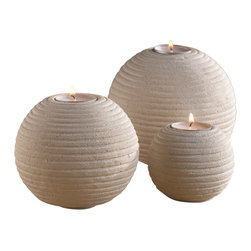Artemano - Set of 3 Candleholders Made of Sandstone - Made of sandstone, the rounded set of candleholders is designed to be a versatile, timeless accessory piece that will add warmth and sophistication in whatever space it is placed.  Three matte clay tea light candleholders, each varying in size and circumference, is a simple way to tastefully spruce up your dining room table, a side table in the living room or even a chic bathroom.