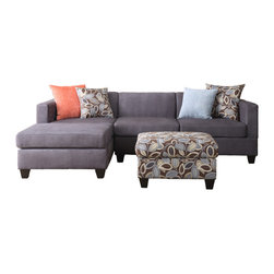 Adarn Inc Soft Microfiber Sectional Sofa Set Charcoal 3 Pc Sofa Set Simplistic and modern